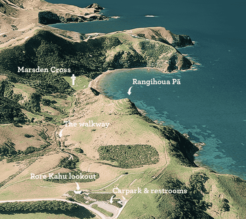An oblique map showing locations of Rore Kahu, the carpark, restrooms, walkway, Rangihoua Pa and Marsden Cross